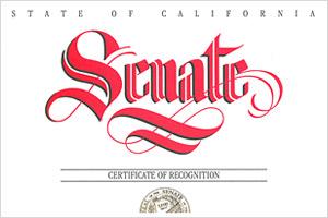 California Senate Certificate of Recognition 2011