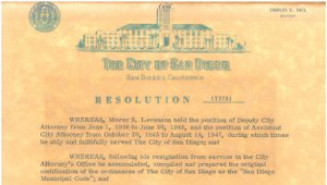 City of San Diego Resolution Early 1960s