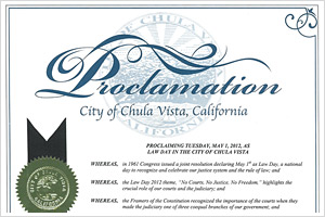 City of Chula Vista Proclamation 2012