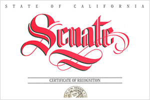 California Senate Certificate of Recognition 2011