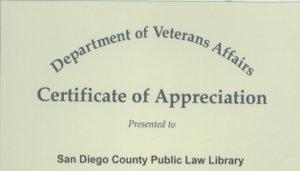 Department of Veterans Affairs Certificate 2001