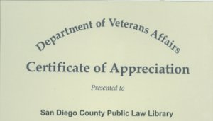 Department of Veterans Affairs Certificate 2001