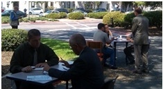 People sitting around tables outdoors