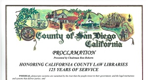 County of San Diego 125 years of service proclamation