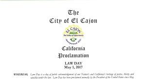 City of El Cajon Law Day Proclamation