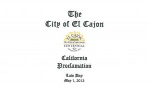 El Cajon Proclamation
