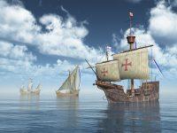 illustration of sailing ships Nina, Pinta, Santa Maria