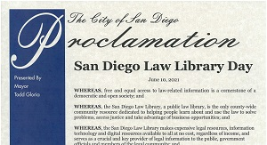City of San Diego Law Library Day Proclamation